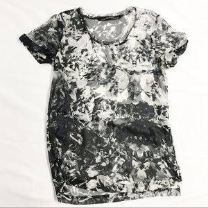 Allsaints Mono Tee sheer black & white blouse